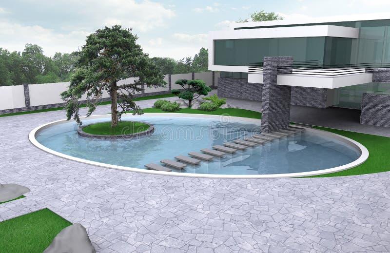 Luxelandgoed het tuinieren illustratie, 3d buitenkant met volledig royalty-vrije illustratie