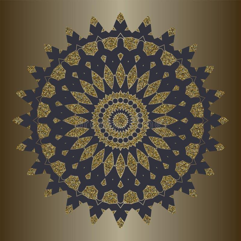Luxemandala met goud schittert in etnische stijl Decoratieve achtergrond met uitstekend ornament stock illustratie