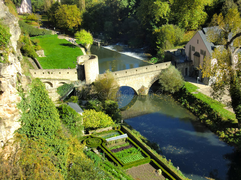 Download Luxembourg Bridge Over River Stock Image - Image of luxembourg, hillside: 16511575