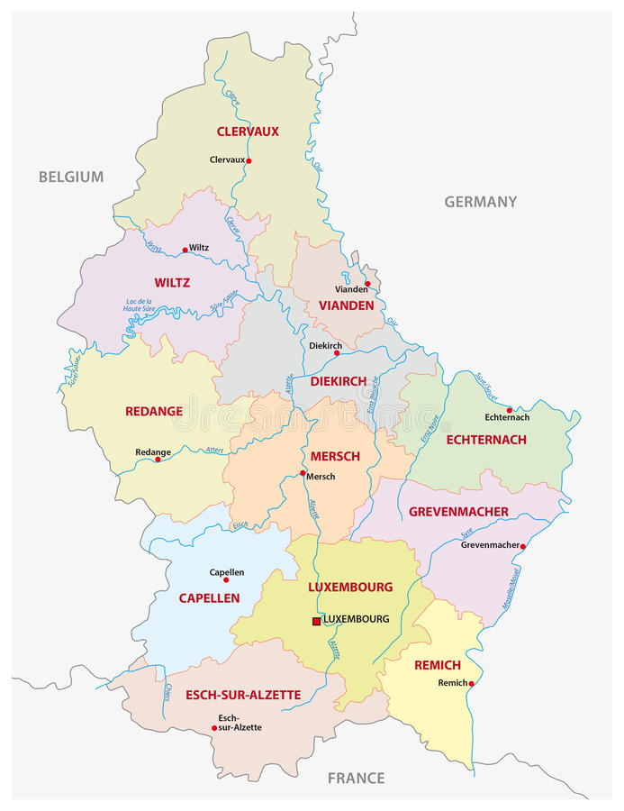 Luxembourg canton Administrative Map Stock Illustration