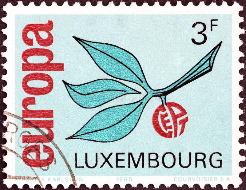 LUXEMBOURG - CIRCA 1965: A stamp printed in Luxembourg from the `Europa` issue shows Europa Sprig, circa 1965. royalty free stock photo