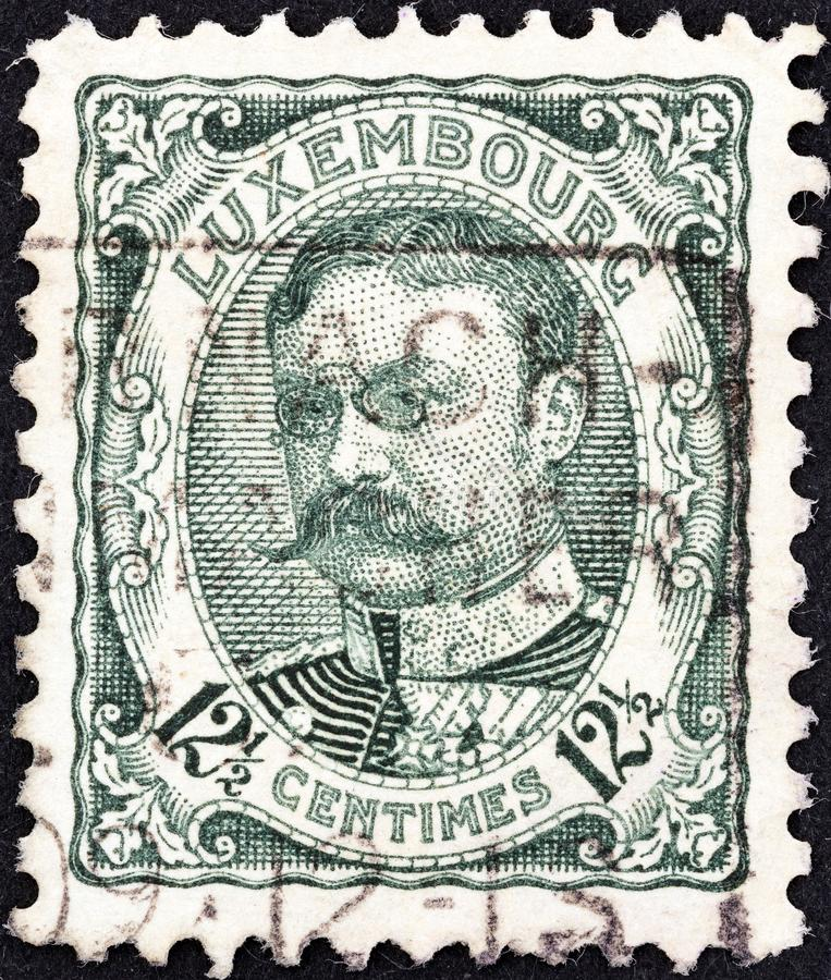 LUXEMBOURG - CIRCA 1906: A stamp printed in Luxembourg shows Grand Duke William IV, circa 1906. LUXEMBOURG - CIRCA 1906: A stamp printed in Luxembourg shows royalty free stock photo