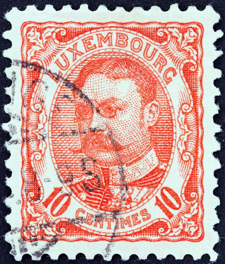 LUXEMBOURG - CIRCA 1906: A stamp printed in Luxembourg shows Grand Duke William IV, circa 1906. royalty free stock photos