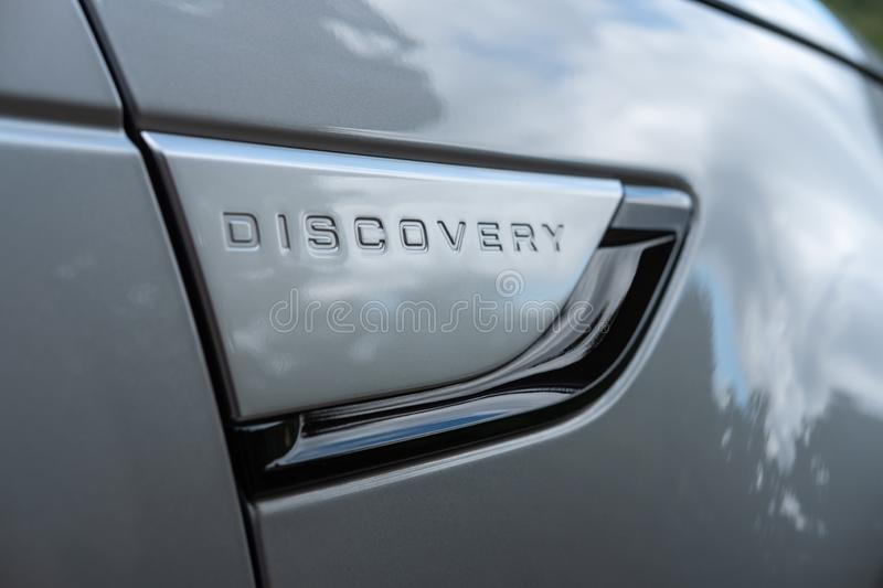 Text on the side of a Land Rover Discovery 5 royalty free stock photography