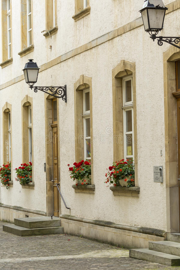 LUXEMBOURG CITY - LUXEMBOURG - JULY 01, 2016: Typical street in. Luxembourg. Luxembourg city is the capital of the Grand Duchy of Luxembourg royalty free stock photography