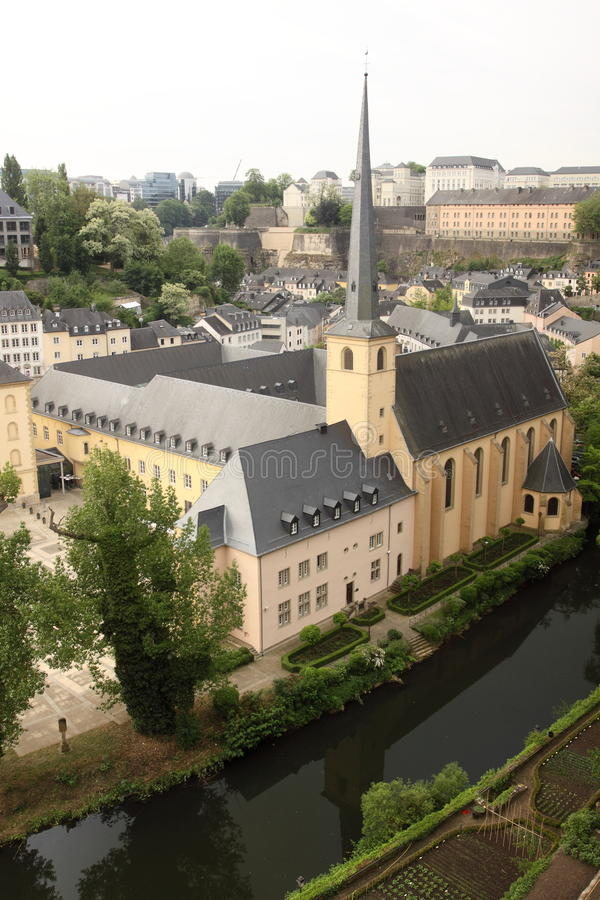 Luxembourg city - old monastery. The view of old monastery in Luxembourg city royalty free stock images