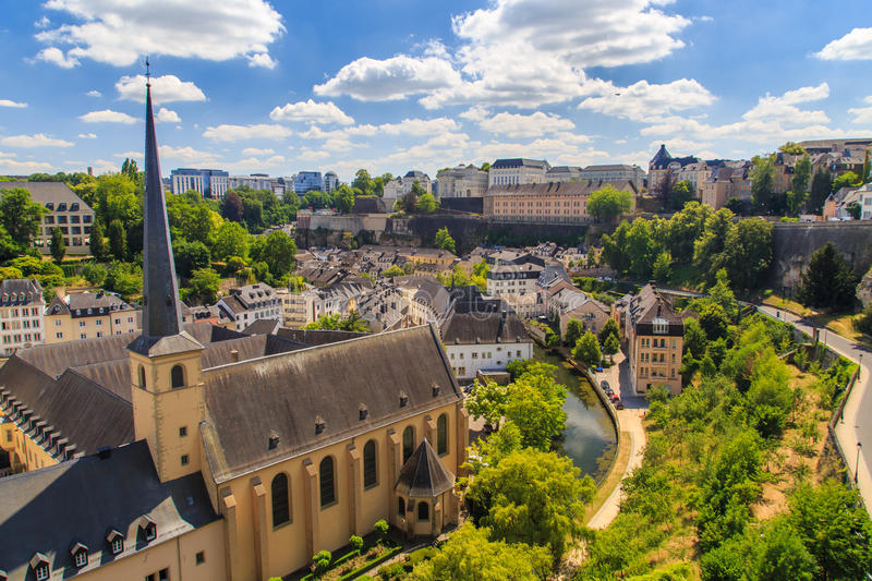 Luxembourg City skyline. Skyline of Luxembourg City, with the St Jean du Grund church in the foreground stock photography