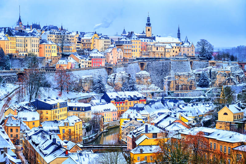 Luxembourg city snow white in winter, Europe stock photography