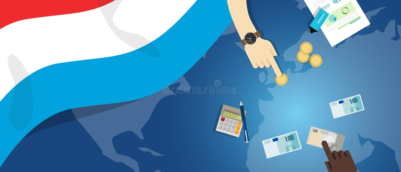 Luxembourg economy fiscal money trade concept illustration of financial banking budget with flag map and currency. Vector royalty free illustration