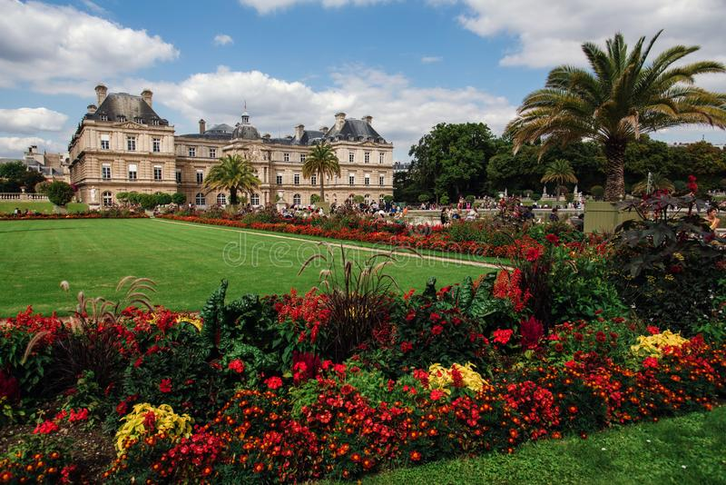 Luxembourg Gardens and Palace in Paris royalty free stock photography