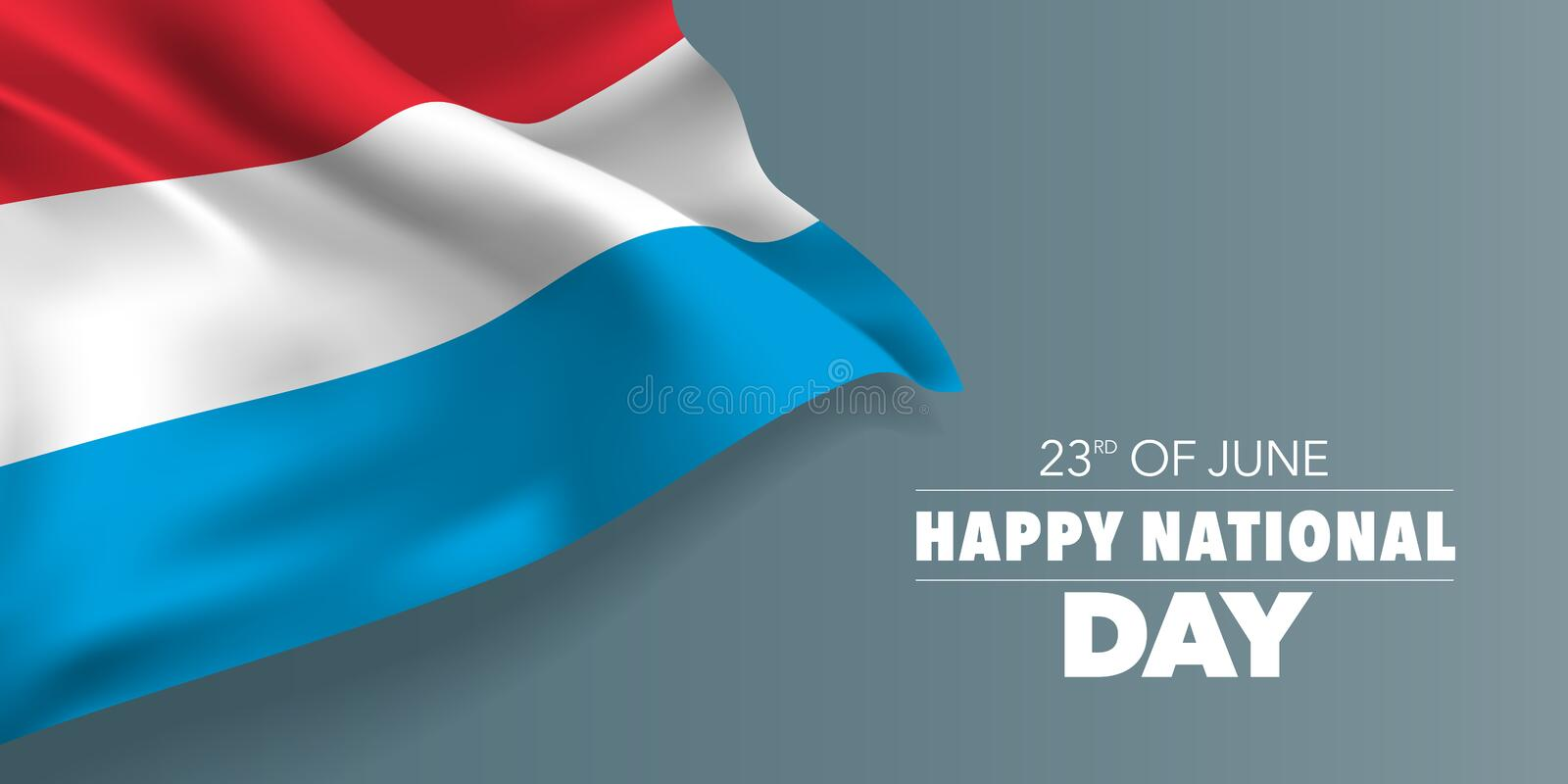 Luxembourg happy national day greeting card, banner with template text vector illustration. Memorial holiday 23rd of June design element with yellow cross stock illustration
