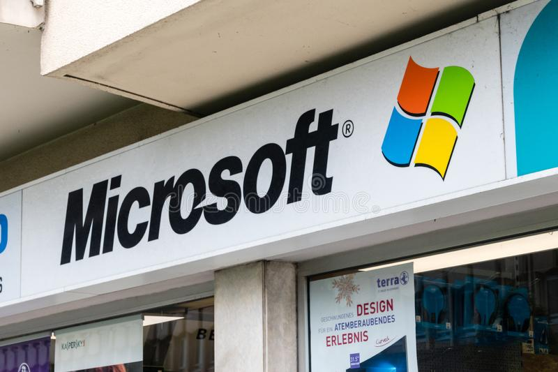 Microsoft logo used from 1987 to 2012. Microsoft Corporation is an American multinational technology company with headquarters in. Luxembourg, Luxembourg - June stock photography