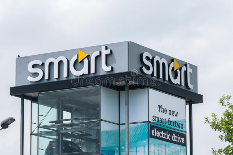 Smart logo and sign. Smart is a German automotive brand and division of Daimler AG royalty free stock photography