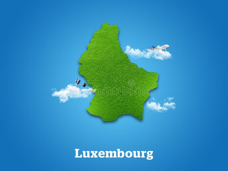 Luxembourg Map. Green grass, sky and cloudy concept. stock photos