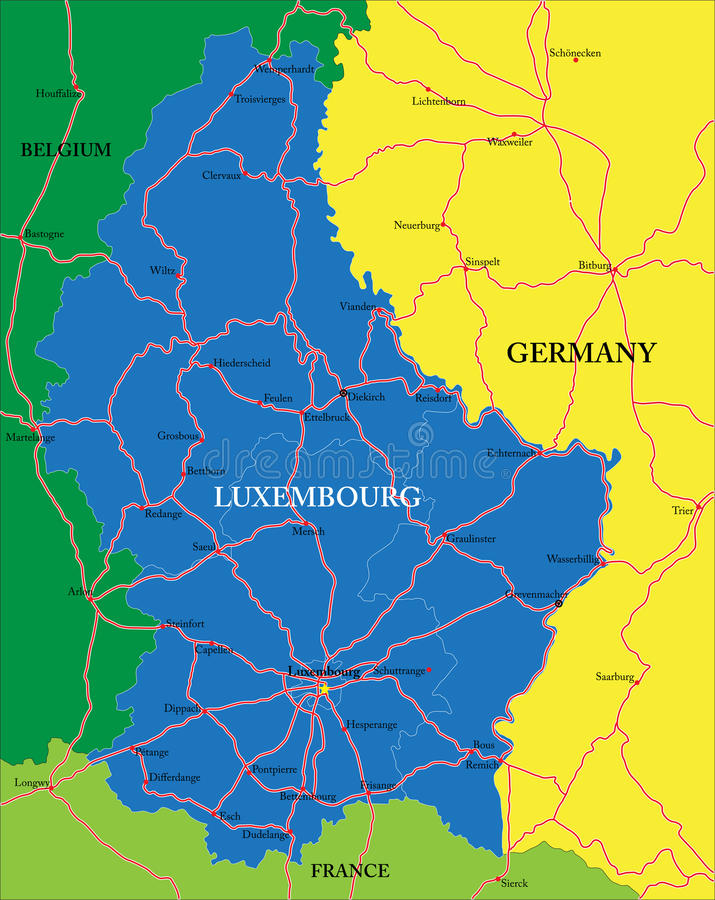 Luxembourg Map Stock Vector Illustration Of Belgium - Luxembourg map vector