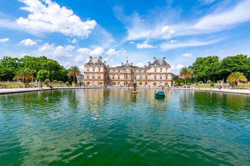 Luxembourg palace and gardens, Paris, France stock images