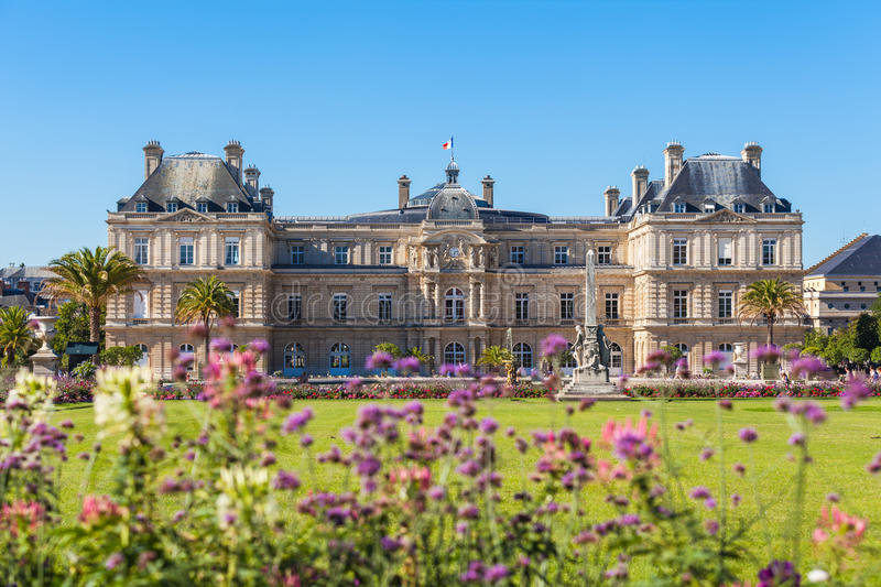 Luxembourg Palace in Jardin du Luxembourg stock photography