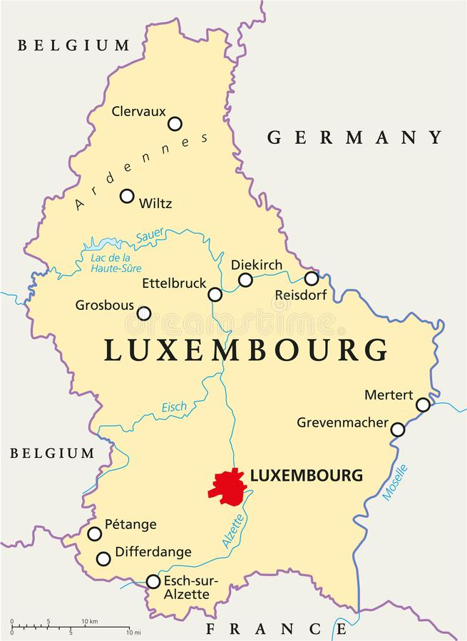 Luxembourg Political Map royalty free illustration