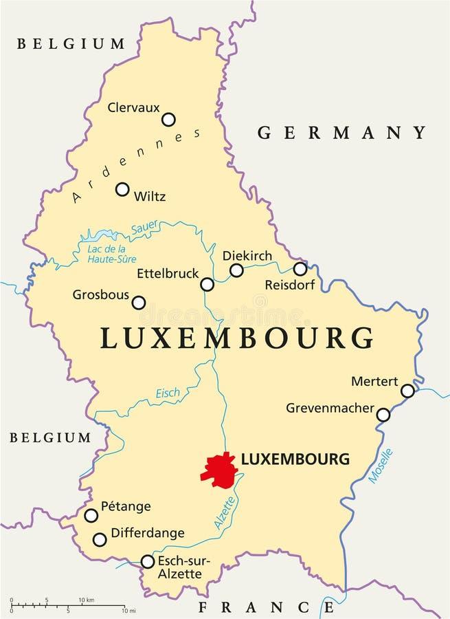 Luxembourg politisk översikt royaltyfri illustrationer