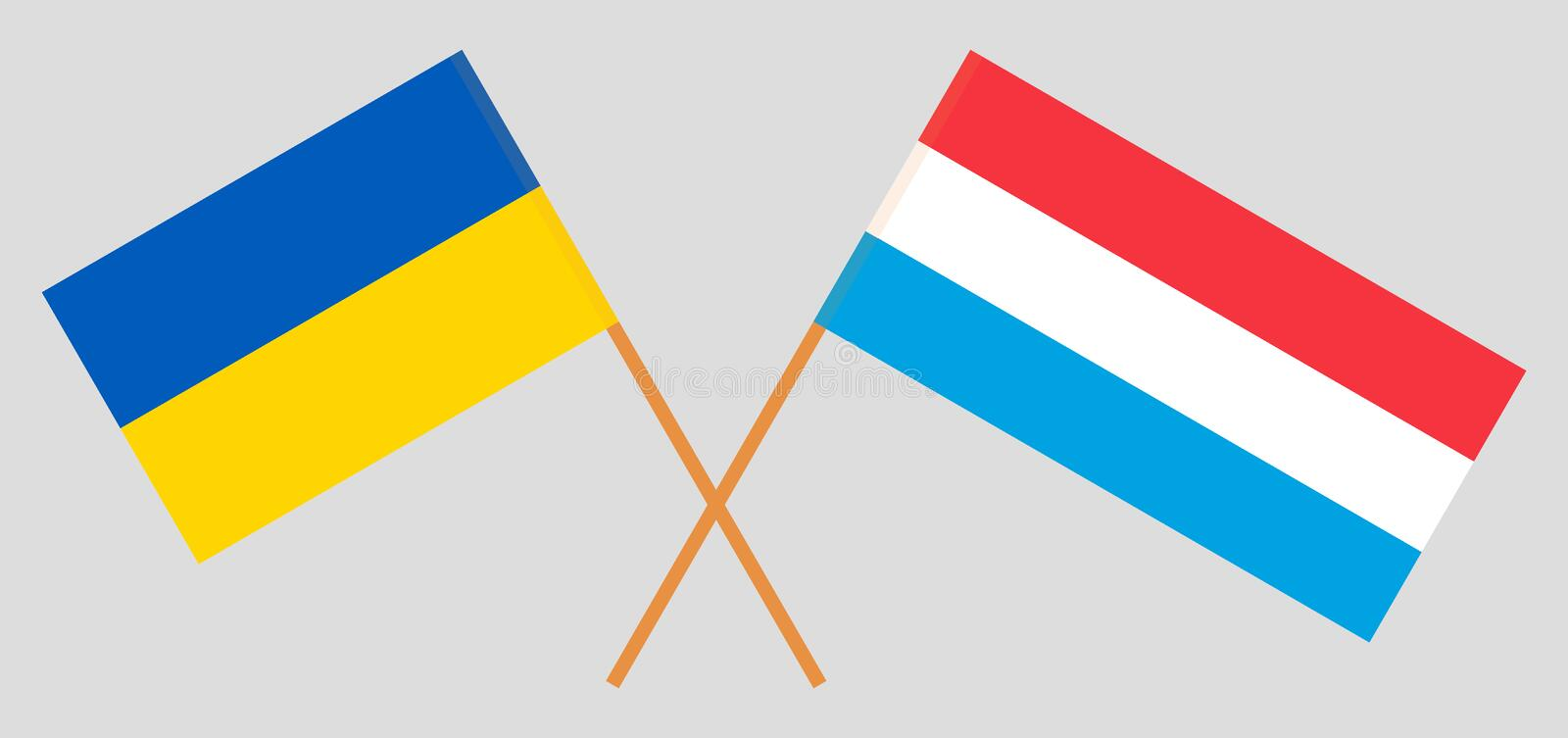 Luxembourg and Ukraine. The Luxembourgish and Ukrainian flags. Official proportion. Correct colors. Vector. Illustration vector illustration