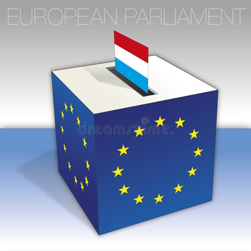 Luxembourg, val för europeisk parlament, valurna och flagga vektor illustrationer