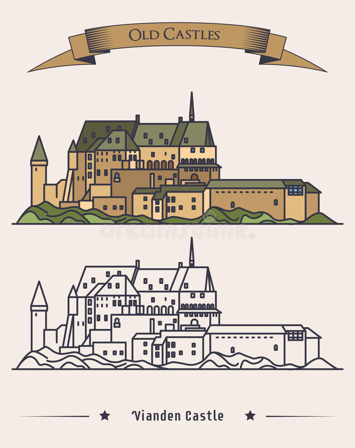 Luxembourg Vianden old castle on mountain with ribbon on top. Romanesque and renaissance architecture of castle or. Palace. Exterior or outdoor view on building vector illustration