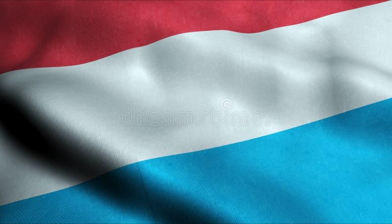 Luxembourg vinkande flagga i 3D royaltyfri illustrationer