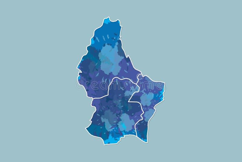 Luxemburg-Aquarellkarten-Vektorillustration der blauen Farbe mit Grenzen von verschiedenen Regionen auf hellem Hintergrund unter  lizenzfreie abbildung