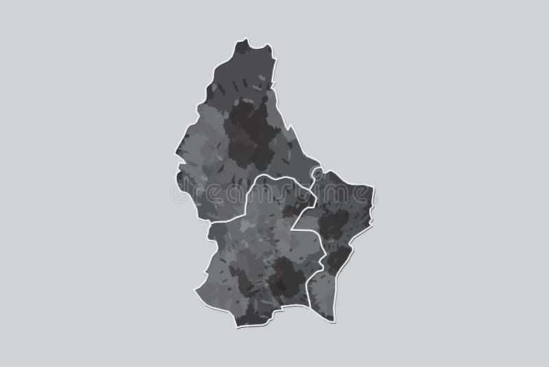 Luxemburg-Aquarellkarten-Vektorillustration der schwarzen Farbe mit Grenzen von verschiedenen Regionen auf hellem Hintergrund vektor abbildung