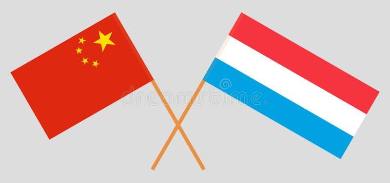 Luxemburg en China De Luxemburgse en Chinese vlaggen Officieel aandeel Correcte kleuren Vector stock illustratie