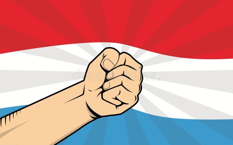 Luxemburgo lucha símbolo de la protesta con la mano y la bandera fuertes como fondo ilustración del vector
