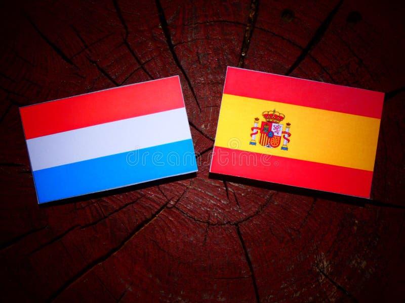 Luxemburgo señala por medio de una bandera con la bandera española en un tocón de árbol foto de archivo libre de regalías