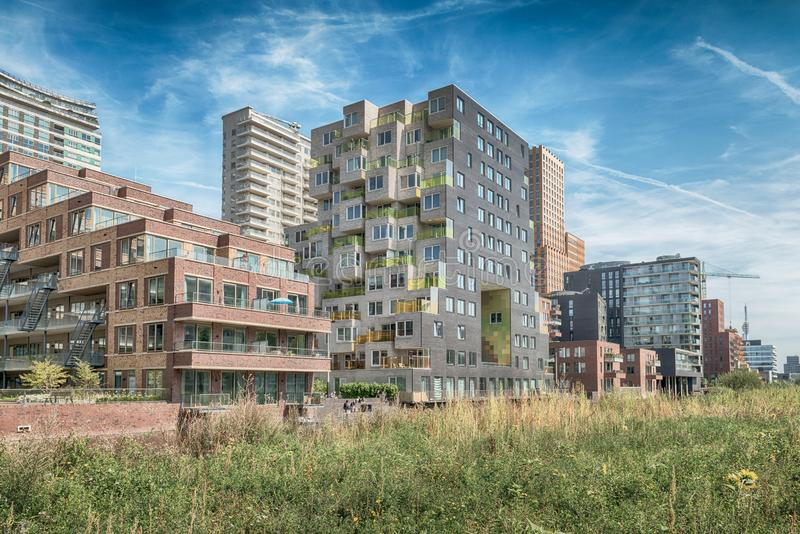 Luxery apartments, living, houses, Modern, urban area, Zuidas in Amsterdam,. Amsterdam, George Gershwinlaan, The Netherlands, 08/23/2019, Modern apartments at royalty free stock photography