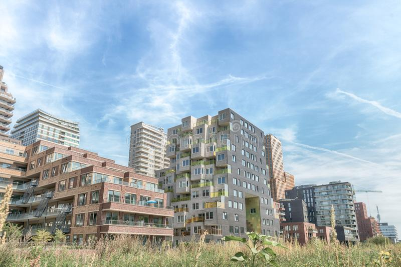 Luxery apartments, living, houses, Modern, urban area, Zuidas in Amsterdam,. Amsterdam, George Gershwinlaan, The Netherlands, 08/23/2019, Modern apartments at royalty free stock photos