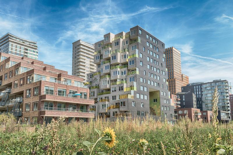 Luxery apartments, living, houses, Modern, urban area, Zuidas in Amsterdam,. Amsterdam, George Gershwinlaan, The Netherlands, 08/23/2019, Modern apartments at royalty free stock images