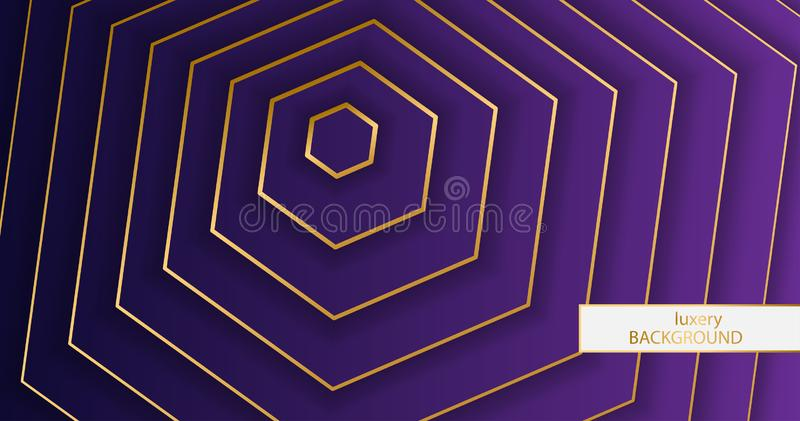 Luxery bakgrund Modell av guld- eleganta linjer på en purpurfärgad bakgrund för lutning Illustration eps 10 för sexhörningstapetv stock illustrationer