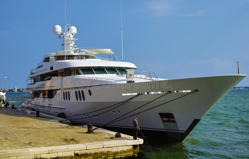 Luxery yacht. In venice, italy stock images