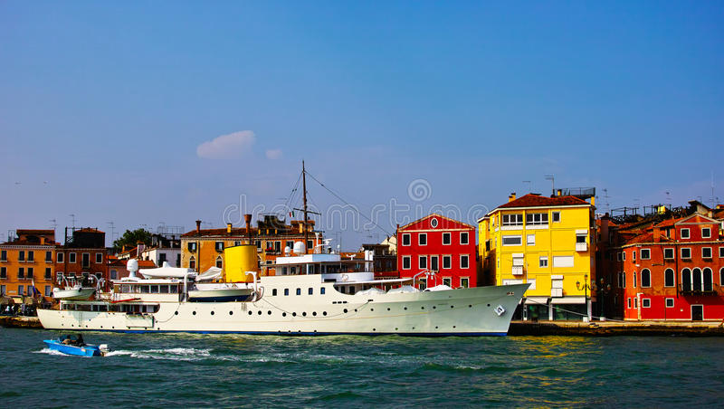 Luxery yacht. In venice, italy stock image
