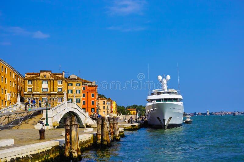 Luxery yacht. In venice, italy stock photo
