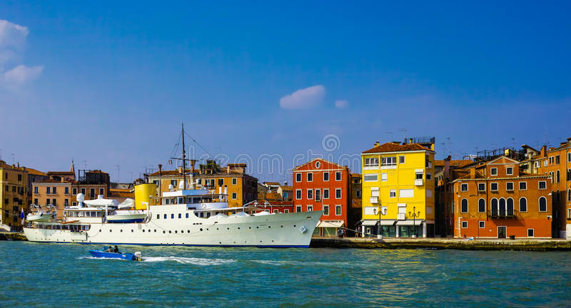 Luxery yacht. In venice, italy royalty free stock photo