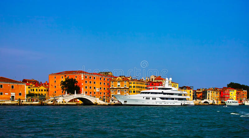 Luxery yacht. In venice, italy stock photography