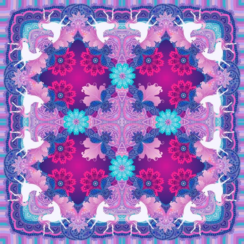 Luxesjaal met leuke eenhoorns op sier etnische achtergrond vector illustratie