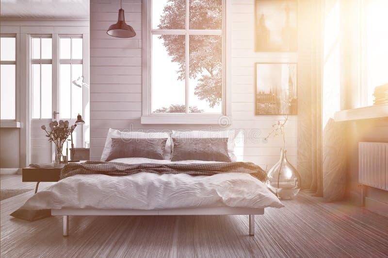 Luxeslaapkamer door warme gloeiende zongloed die wordt aangestoken stock illustratie