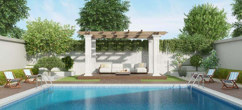 Luxetuin met grote pool royalty-vrije illustratie