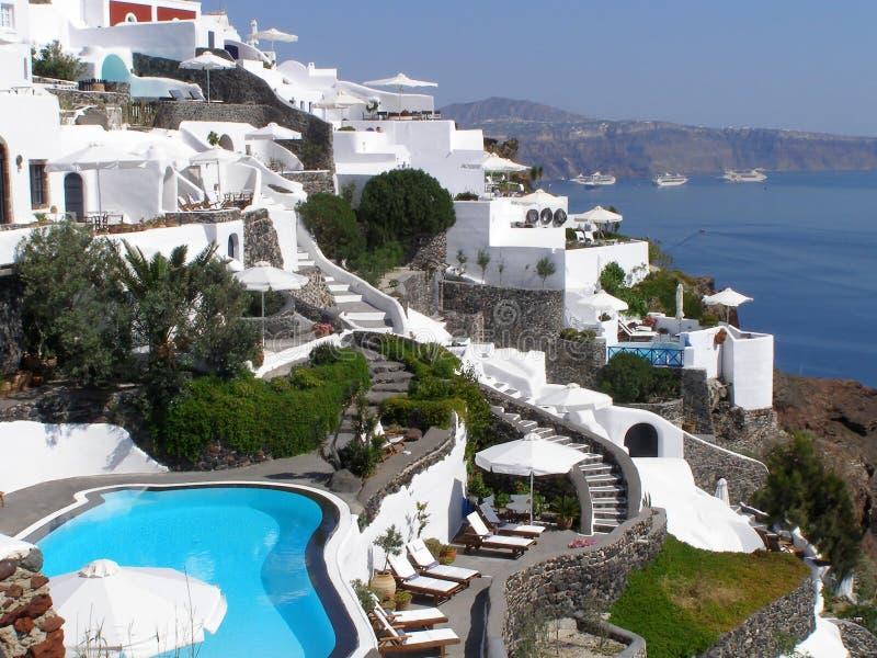 Luxevakantie bij het verbazen van Griekenland stock afbeeldingen