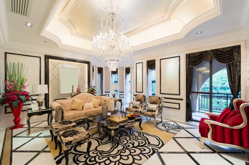 Luxewoonkamer royalty-vrije stock afbeelding
