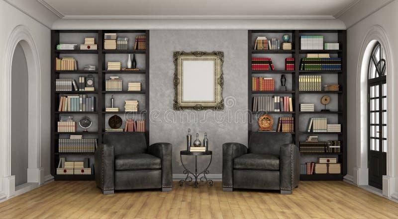 Luxewoonkamer met grote boekenkast en leunstoelen stock illustratie