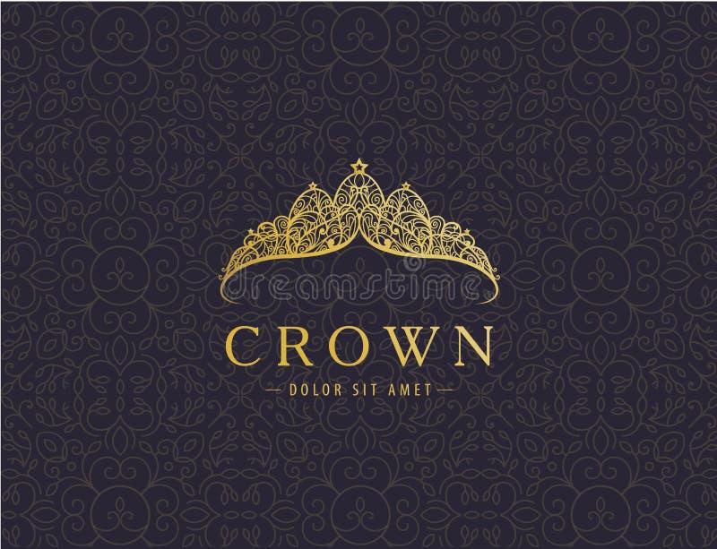 Luxo abstrato, projeto dourado real do vetor do ícone do logotipo da empresa ilustração royalty free