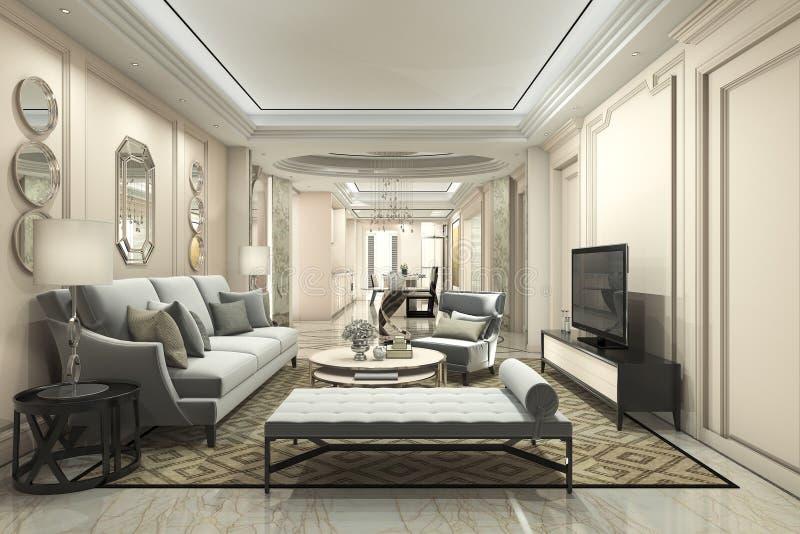 luxo da rendição 3d e sala de visitas e sala de jantar modernas ilustração stock