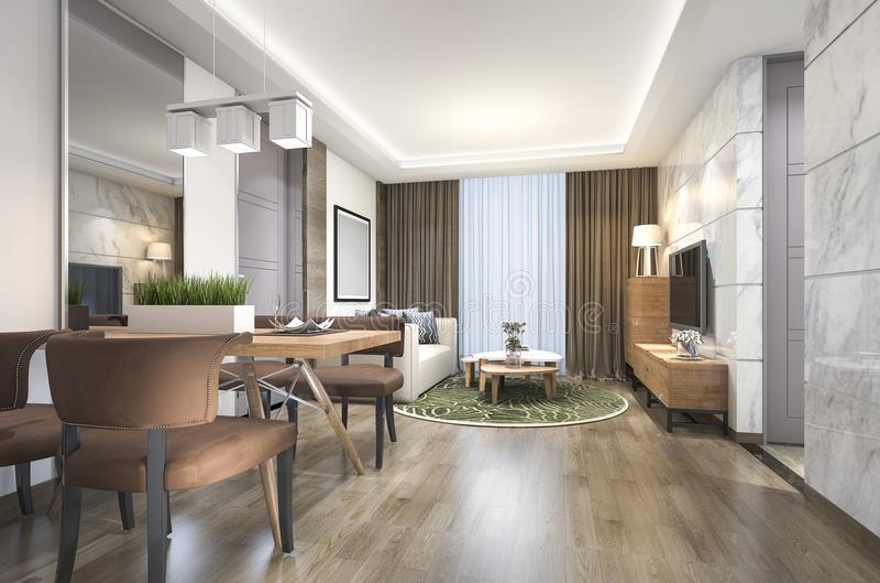 luxo de madeira da rendição 3d e sala de visitas e sala de jantar modernas ilustração do vetor